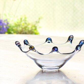 クラウン皿 ブルーミックス 吹きガラス