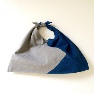 絣あずま袋 (薄藍染 x 墨染)