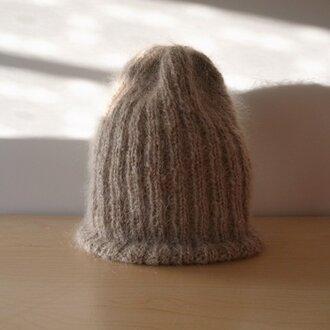 モヘアのリブ編みニット帽・フォーン●受注生産●