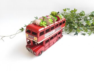 再入荷!ヴィンテージミニロンドンバスミニカーフェイク多肉植物!の画像