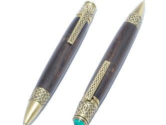 【受注製作】木製の回転式ボールペン(ブラックウッド;真鍮のメッキ)の画像