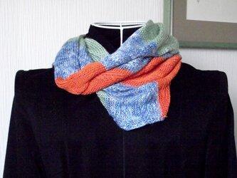 SALE!  スヌード:竹毛糸、ブルー、オレンジ,緑の画像