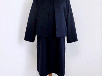【setフォーマル*濃紺】ファスナー付きワンピース&ノーカラージャケット♥の画像