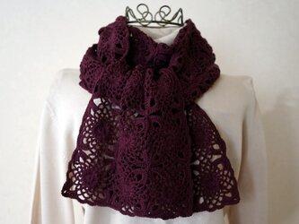 モチーフ編みのマフラー(ボルドー)の画像