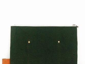 帆布×本革 ワイルドクラッチ armygreenの画像