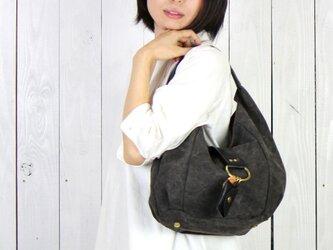 polta-mini-クロ(タンニン染め帆布×杤木レザーバッグ)の画像