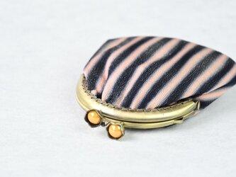がま口 小 「ぼかし縞 黒×薄ピンク」/リメイク着物の画像