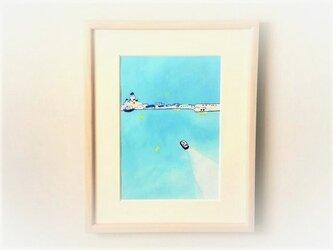 【受注制作】「港町2」イラスト原画/額縁入りの画像