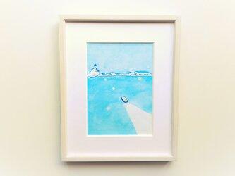 【受注制作】「港町」イラスト原画 ※木製額縁入りの画像