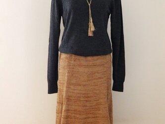 ニット・キッドモヘアのフレアスカート・ラリエット付きの画像