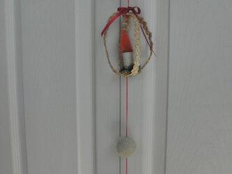 麦藁細工のガーラント  白樺のろうそくと雪の玉の画像