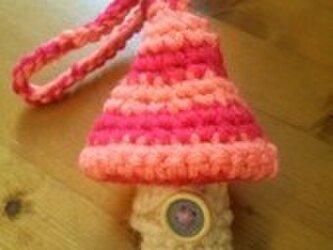キノコのリップクリームケース(サーモンピンク&マゼンタ)の画像