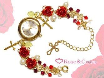 姫系☆薔薇&ビーズのエレガントブレスウオッチ・レッド×ゴールド(腕時計)!結婚式やパーティーなどドレスを着る機会に!の画像