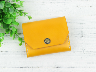 本革 可愛い手縫い小銭入れ&カードケース ♪Orange Yellow♪の画像