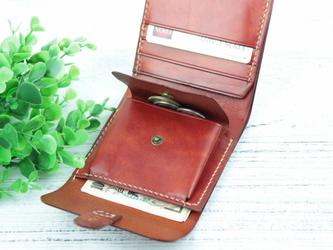本革 ビンテージ風コンパクト二つ折り財布 ♪Red Brown♪の画像