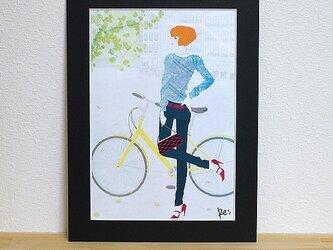 A4額入りイラスト「自転車」・サイン入りの画像