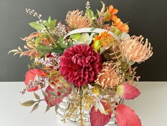 Autumn basket arrange Dahliaの画像