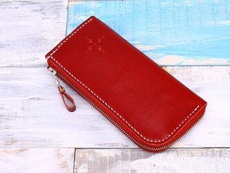 【切線派】【選べるステッチ】牛革手作りL字ファスナー長財布(020004)の画像