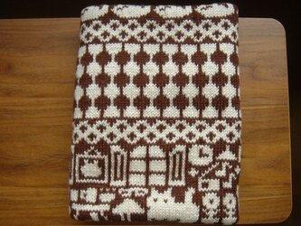 【ご予約の品】編み込みのひざ掛け 冬の日 ベージュ×こげ茶の画像