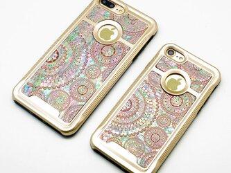 iPhone7/7Plusケース 天然貝仕様(ゴールドタイプ) <螺鈿アート>の画像