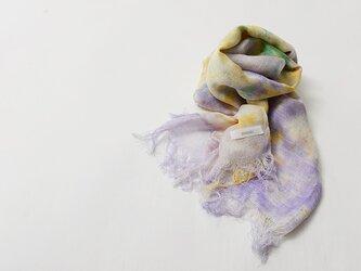 国産シルク100%手描き染めストール purple&yellow&greenの画像
