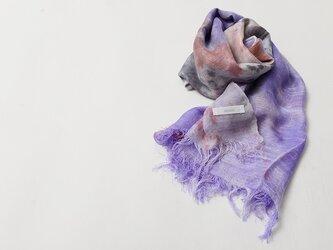 国産シルク100%手描き染めストール red&purple&grayの画像