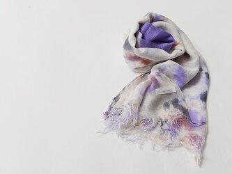 国産シルク100%手描き染めストール purple&pink&grayの画像