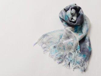 国産シルク100%手描き染めストール blue&gray&pinkの画像