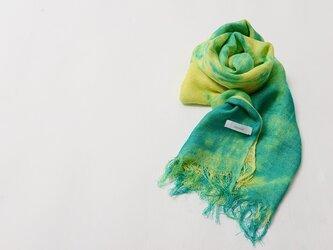 国産シルク100%手描き染めストール yellow&greenの画像