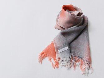 国産シルク100%手描き染めストールpink&gray-の画像