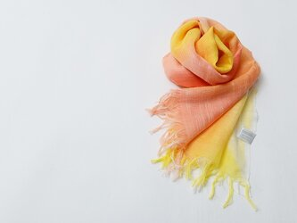 国産シルク100%手描き染めストールpink&yellow-の画像
