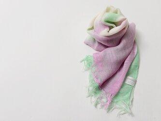 国産シルク100%手描き染めストールpink&green-の画像