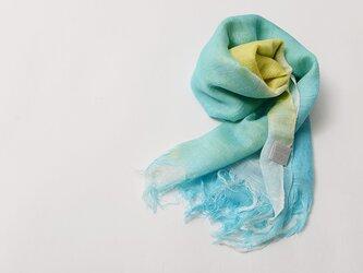 国産シルク100%手描き染めストールyellow&blue-の画像