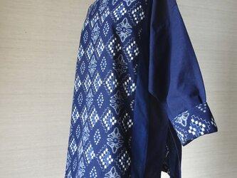 手織り久留米絣:続き菱形のチュニック・プラウス(W-29)の画像