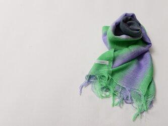 国産シルク100%手描き染めストール purple&green&gray-の画像