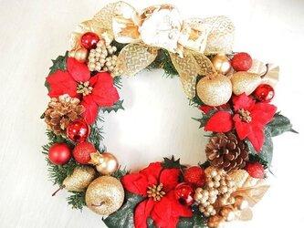 赤&ゴールドがドラマティックなクリスマスリース1601の画像