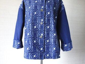 手織り久留米絣:渦巻き模様のチュニック・プラウス(W-54)の画像