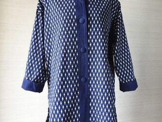 手織り久留米絣:一重仕立ての杵柄のコート(W-58)の画像