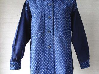手織り久留米絣:段染め菱十字のシャツ・プラウス(W-38)の画像