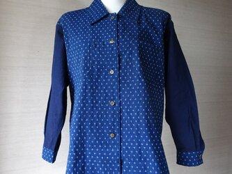 手織り久留米絣:十字絣のシャツ・プラウス(W-39)の画像