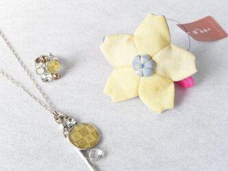 小さな巾着袋/みこ花「真珠色」mi-9a/リメイク着物の画像