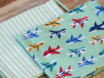 子供マスク小学生低学年 飛行機 ストライプ 2枚セットの画像
