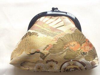 がまぐち クラッチバッグ 丸帯地 鶴柄の画像
