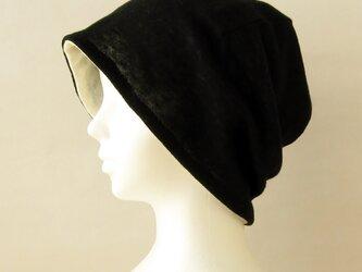 ゆるいリバーシブル帽子 やわらかラムウール混ガーゼニット 黒 アイボリー (CSR-010-LCBI)の画像