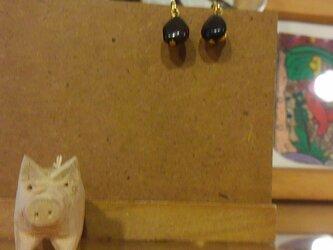 新春sele  黒翡翠のシンプルイヤリングの画像