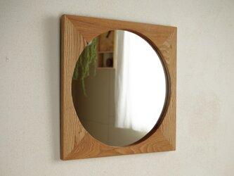 木製 鏡「しかくに◯」栗材2 ミラーの画像