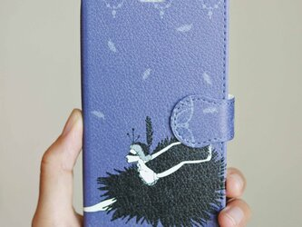 (iPhone)黒鳥 手帳型スマホケースの画像