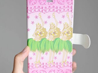 (iPhone)フラガールピンク 手帳型スマホケースの画像