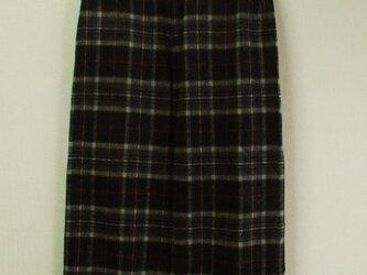 【セール品】ウール混 裾ダブル折りフルレングスワイドパンツ(身長160cmの方) M~Lサイズ 茶地×チェック柄の画像