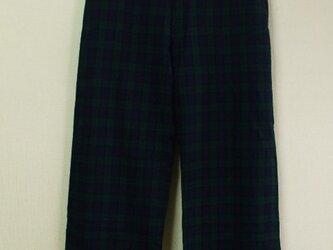 【セール品】ウール混 裾ダブル折りフルレングスワイドパンツ(身長160cm以上の方) M~Lサイズ 緑×紺チェック柄の画像